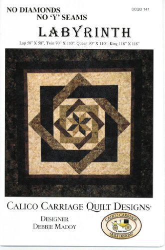 """Labyrinth Quilt Pattern, No Diamonds or """"Y"""" Seams, 4 Size Op"""