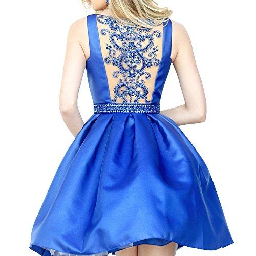 Promkleider Jugendweihe Cocktailkleider Festlichkleider Knie Blau Mini Kleider La Satin Partykleider Royal mia Oberhalb von Mini Brau wgBYwqAUX