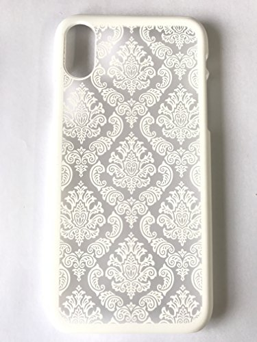 iPhone X case, Floral Paisley Flower Henna Mandala Matte Baroque Style Retro Court Lace Printed Design Ultra Slim Fit Mobile Phone Protective Back Hard Case Cover By Sunday Gallery (White)