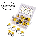 Key Type Hose Clamp, 52 Pieces Stainless Steel Adjustable 8-38mm Range Turn Key Clamp, Pipe Clamp, Worm Gear Clamps Ideal for Plumbing -Automotive and Mechanical Applications.