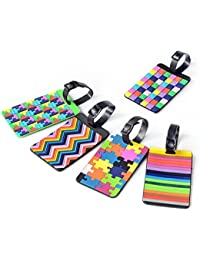 5pcs Colorful Tetris Pattern Rubber ID Tags Business Card Holder for Luggage Baggage Travel Identifier, Suitcase Label