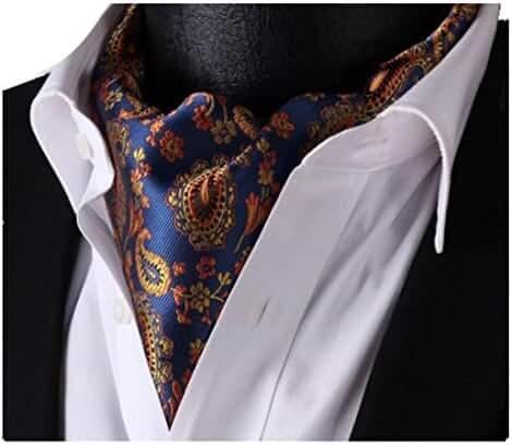 Lingswallow Blue Orange Floral Men 100% Silk Cravat Ties Jacquard Woven Ascot