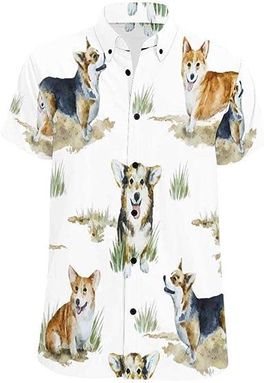 InterestPrint Men Shirt Peacock Shirts Beach Short Sleeve Summer Button Down Tops Tees Blouses S-5XL