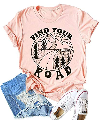 - LANMERTREE Find Your Road O Neck T-Shirt Women Funny Letter Print Short Sleeve Blouse Tee (XL, Pink)