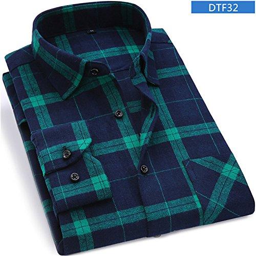 SincerityS Shirts Men Flannel Plaid Shirt 100% Cotton New Spring Autumn Casual Long Sleeve Shirt DTF32 Asian Size S (Oz 5 Flannel Shirt)