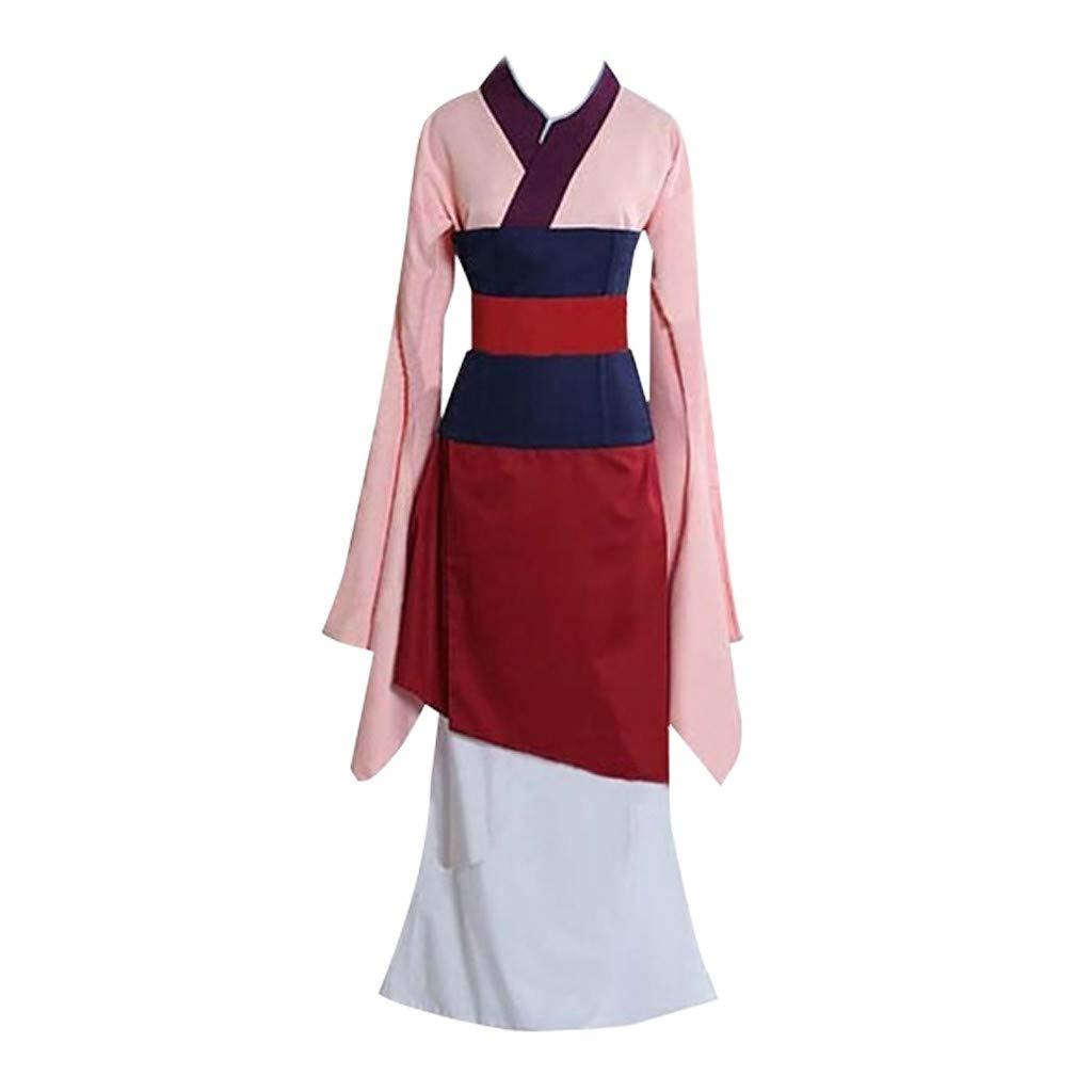 HENWERD Movie Dress for Women Girls Heroine Hua Mulan Costume Kimono Cosplay Party Dress (Red,L)
