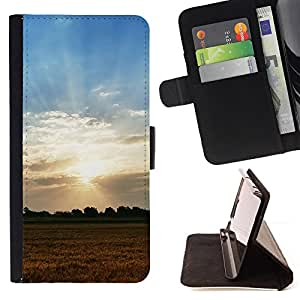 BullDog Case - FOR/Samsung Galaxy Core Prime / - / Nature Field Sunset /- Monedero de cuero de la PU Llevar cubierta de la caja con el ID Credit Card Slots Flip funda de cuer