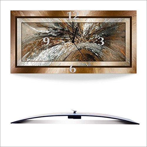 Artland 3D analoge Wand-Funk- oder Quarz-Uhr Digital-Druck auf Alu weiß mit Motiv Jule Gold Abstrakt 1 Abstrakte Motive Gegenstandslos geometrische Formen Digitale Kunst Braun A9GZ