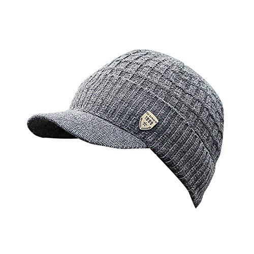 - HGWXX7 Men Winter Warm Baggy Weave Crochet Wool Knit Ski Hat Beanie Visors Caps(One Size, Dark Gray)