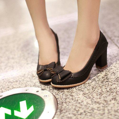Frauen Starke Ferse Spitzschuh Falbala Bogen Einfarbig Kunstleder Pumps Schuhe (36, schwarz)