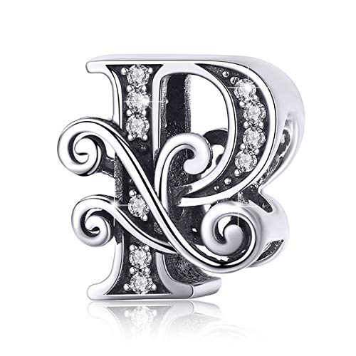 (BAMOER 925 Sterling Silver Initial Letter P Charms for Snake Chain Bracelet Necklace Alphabet Beads)