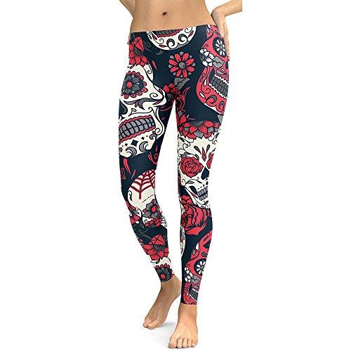 ZEFOTIM Women High Waist Gym Yoga Running Fitness Leggings Pants Workout Clothes (L,Red) ()
