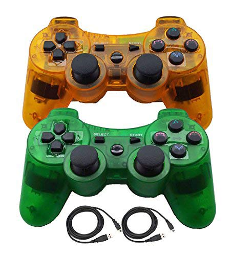 Molgegk Wireless Bluetooth Controller Compatible for Playstation 3 PS3 Double Shock - Bundled with USB Charge Cord (ClearGreen and ClearOrange)