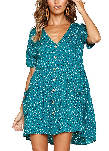 (Women's V Neck Vintage Printed Button Down A-Line Swing Smock Shift Dress with Pockets Green M)