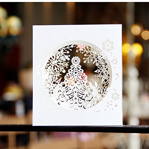 Paper Spiritz Snowflake Tree Pop Up Christmas Card - 3D Holiday Happy New Year Card - Laser Cut 4-Layer Snowflake - Including Envelope (White) (Christmas 3d Card)