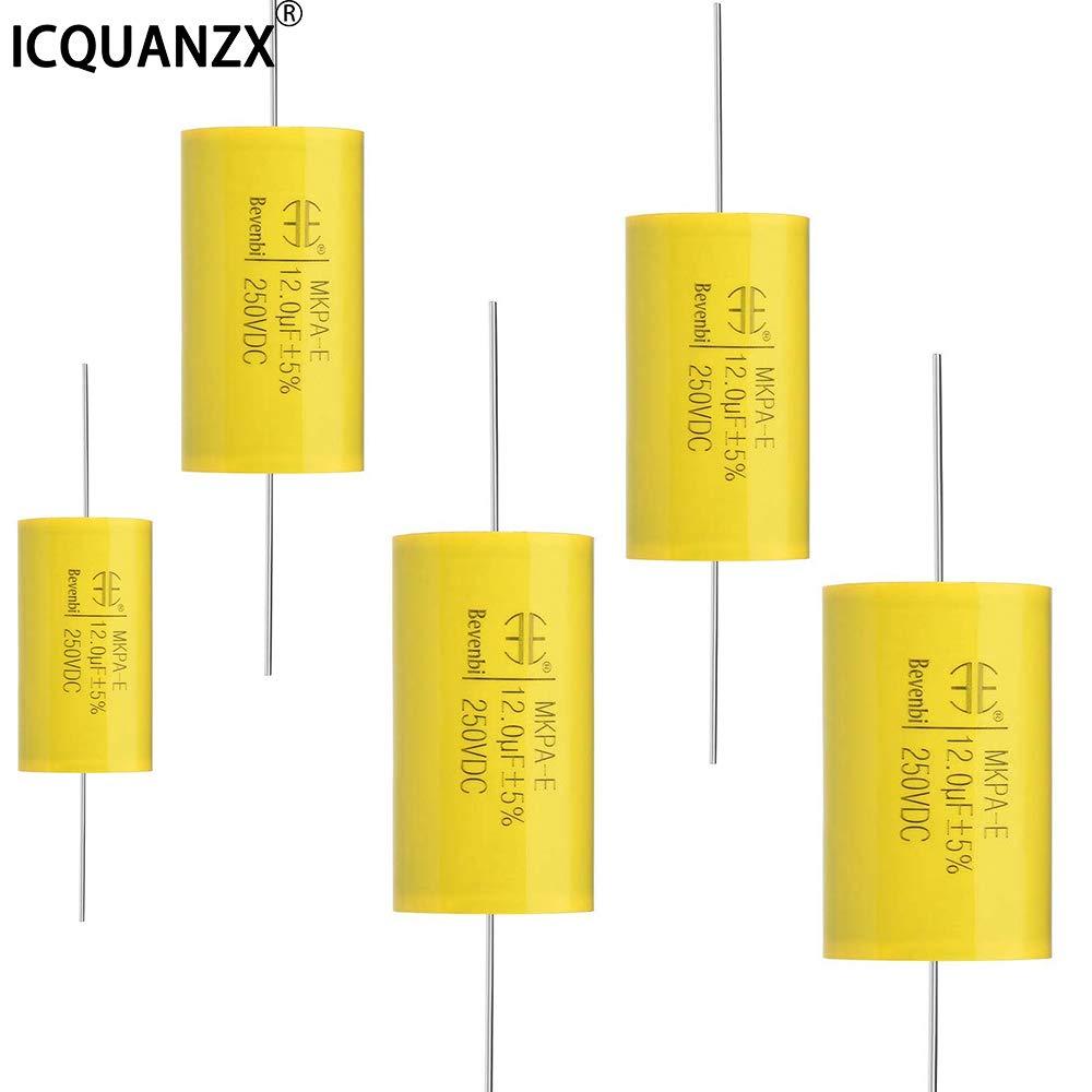 ICQUANZX Condensateur /à film 250V DC 1.0uF MKTA-E Condensateurs axiaux ronds en polypropyl/ène pour diviseur audio (5PCS) 1.0uF