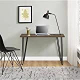 Retro Desk, Multiple Colors, HOme and Office Furniture, Made from Laminated Particleboard, Powder-Coated Metal Legs, Office Desk, Computer Desk, Children's Furniture, BONUS e-book (Walnut)