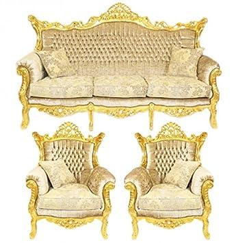 Casa Padrino Barock Wohnzimmer Set Master Creme Samtstoff/Gold   3er Sofa +  2 Sessel