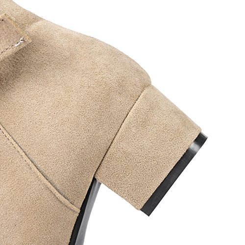 AllhqFashion Damen Rein Nubukleder Mittler Absatz Quadratisch Zehe Reißverschluss Stiefel Aprikosen Farbe