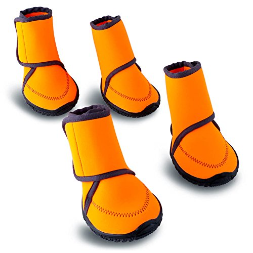 HaveGet Waterproof dog shoes Fluorescent orange dog boots Velcro and Rugged Anti-Slip Sole Paw Protectors for All Weather Comfortable Easy to Wear Suitable for medium dog (L, ORANGE) (Boots Weather Dog)