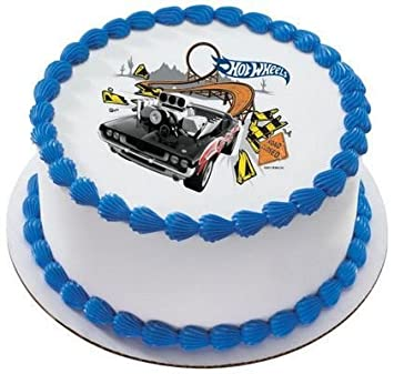 Amazoncom 14 Sheet Hot Wheels Bustin Out Birthday Edible