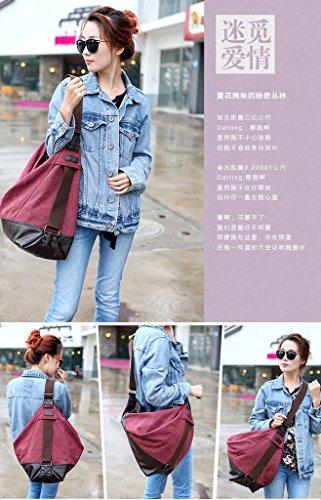 Bolso Chou de Tiny bolso Claret piel para de vintage grande estilo mujeres lona para viaje cubo hombro de red p5OnwdqOr