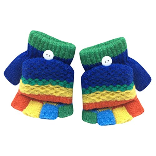 Price comparison product image Kollmert Kids Convertible Fingerless Colorful Hand Wear Gloves Winter Snow Mittens (Dark Blue)