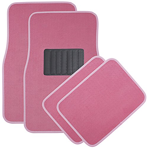 OxGord Universal Fit Front/Rear 4-Piece Full Set Heavy Duty Economy Carpet Floor Mat - (Pink) Carpet Floor Mats Rear Wheel