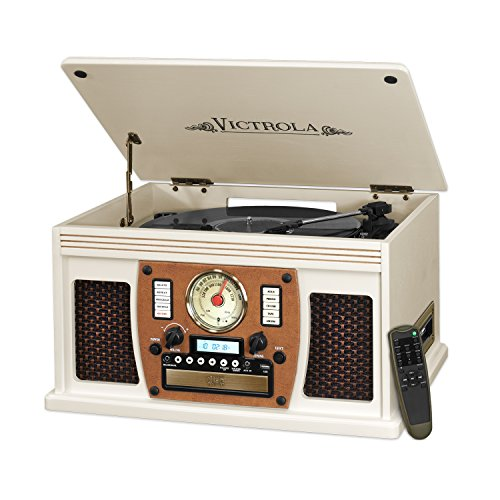 Victrola Nostalgic Aviator Wood 8-in-1 Bluetooth Turntable Entertainment Center, White ()