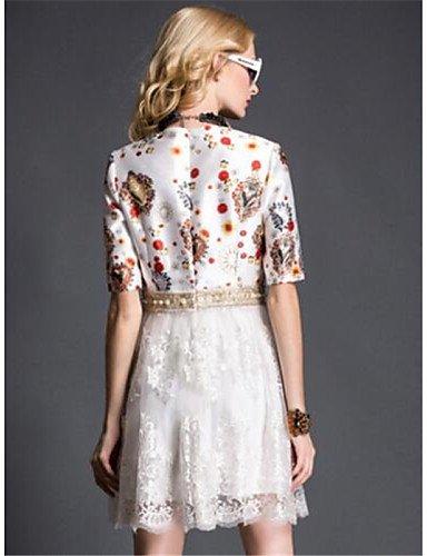 PU&PU Robe Aux femmes Ample Simple,Imprimé Col Arrondi Au dessus du genou Polyester , white-xl , white-xl