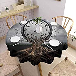 DILITECK Clock Kids Round Tablecloth A Vintage Clock Breaking Free from a Tree Trunk A Surrealistic Symbol for Strategy Print Printed Tablecloth Diameter 36 Grey