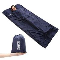ENKEEO Hüttenschlafsack Ultraleichter Schlafsack Inlett Tragbare Handflächengroßer Reisenschlafsack Inlay 210 * 110 cm Antibakteriell Atmungsaktiv mit verbessertem Reißverschluss