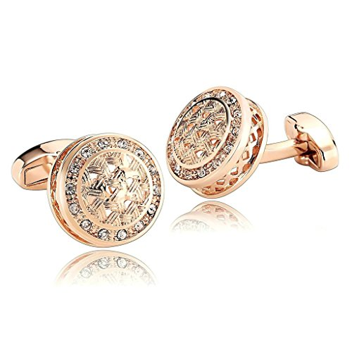 AnaZoz Jewelry Stainless Steel Mens 1 Pair Cufflinks Pattern Cubic Zirconia Rose Gold Men's Cuff Links ()