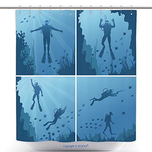 Unique Shower Curtains Scuba Divers Under Water Ocean And Sea Diver Deep Sport Diving And Reef Natural Fish Vector 340821434 Polyester Bathroom Shower Curtain Set With (Scuba Diver Halloween Costume Ideas)