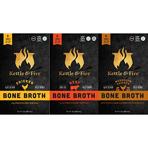 Bone Broth - Collagen & Gelatin Rich Bonebroth for Ketogenic Diet or Paleo Snack w Lion's Mane & 10g Protein. Gluten Free. Keto. Gut & Digestive Friendly Nutrition from Ancient Source (3-Sample Pack) (Gelatins Diet Protein)