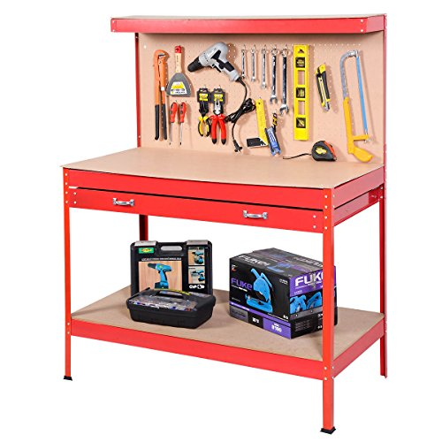 Goplus Steel Workbench Tool Storage Work Bench Workshop Tools Table W/ Drawer and Peg Board,Red by Goplus (Image #2)
