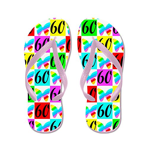 CafePress 60TH Butterfly - Flip Flops, Funny Thong Sandals, Beach Sandals Pink