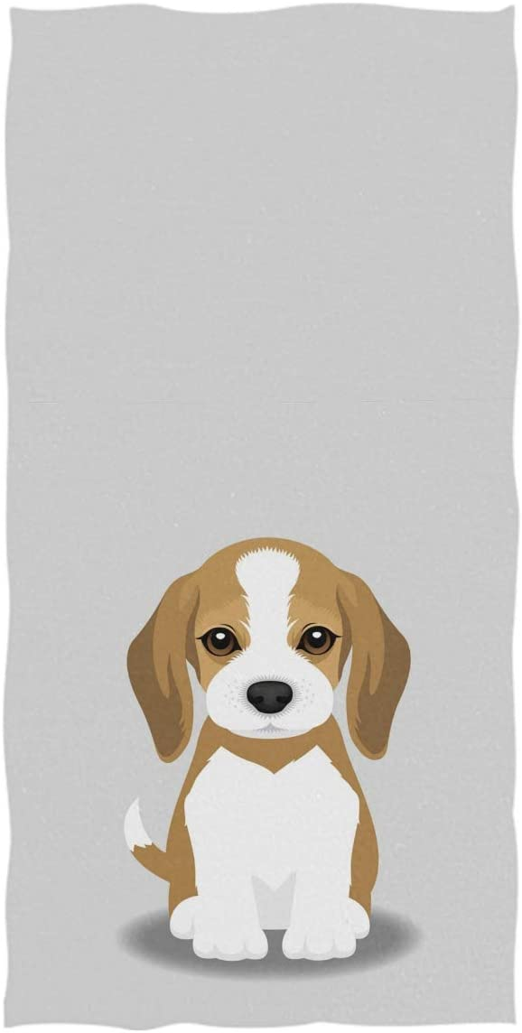 Wamika Dog Pattern Hand Towels Beagle Puppy Thin Bathroom Towel Ultra Soft Highly Absorbent Multipurpose Towels for Hand,Face,Gym,Sports Home Decor, 16x30 in