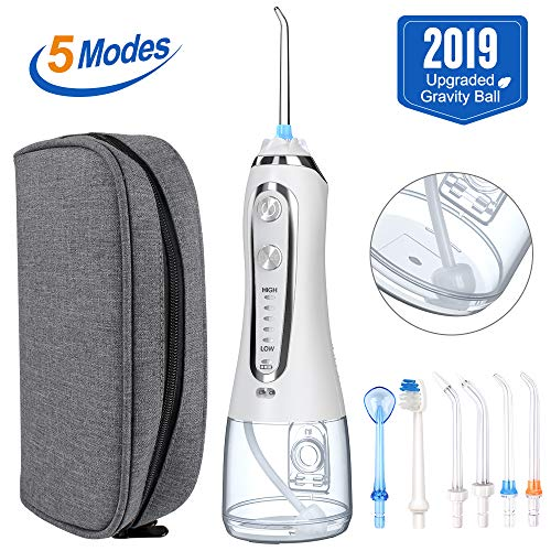 2019 HAUEA 5 Modes Cordless Dental Water Flosser with Gravity Ball Design 6 Jet Nozzles and Handy Cosmetic Bag white