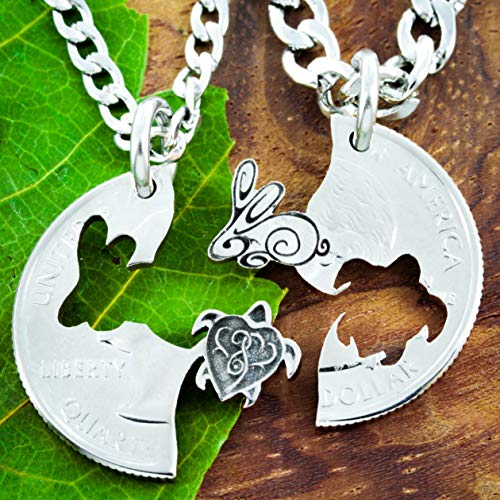 (Turtle and Bunny Rabbit Couples Necklaces, Friendship Jewelry set, hand cut coin, By NameCoins)