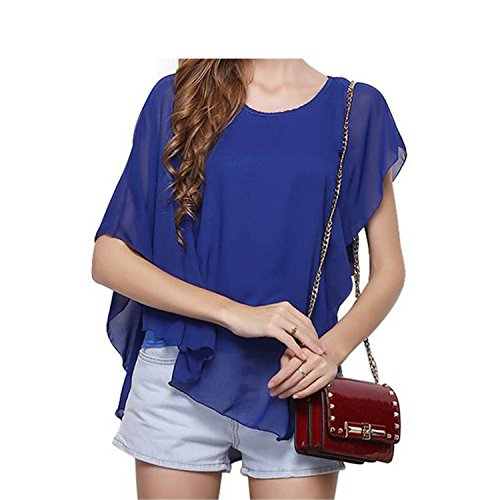 Casual Ruffle Chiffon Blouse Shirts Women Crew Neck Sleeveless Blouse Ladies Tops Loose Shirt at Amazon Womens Clothing store: