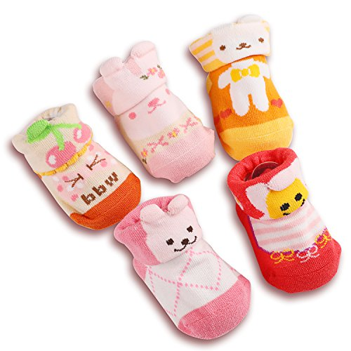 TAILOR K 5 Pairs Newborn Unisex Baby Socks 3d Ears Cartoon Animal Toddler Non Skid Socks for 0-6 months Girls  Girls