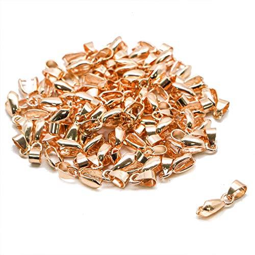 JETEHO 50 Pcs Copper Metal Pinch Clip Bail Bead Pendant Connector Pendant Necklace Clasps (KC Gold, 7 x -