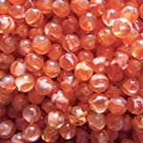 """Unique & Custom {5/8'' Inch} Set Of Approx 50 """"Round"""" Clear Marbles Made of Glass for Filling Vases, Games & Decor w/ Warm Fiery Amber Tone Cats Eye Crystal Swirl Design [Orange Color]"""