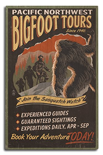 Lantern Press Pacific Northwest - Bigfoot Tours - Vintage Sign (10x15 Wood Wall Sign, Wall Decor Ready to Hang)