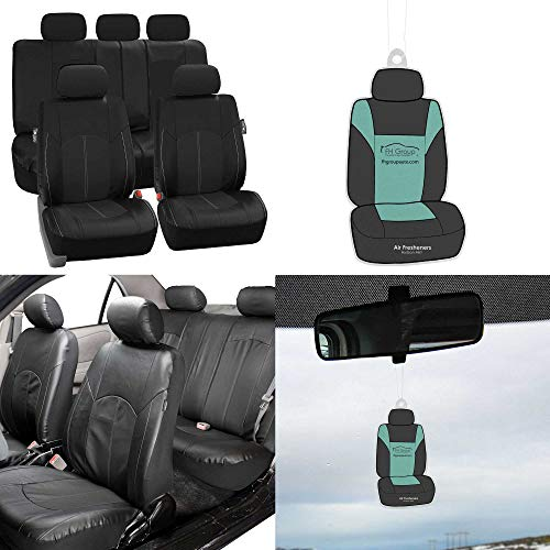 (FH GROUP PU008115 Perforated Leatherette Full Set Car Seat Covers, Airbag & Split Ready w. Free Air freshener, Solid Black Color - Fit Most Car, Truck, Suv, or Van)