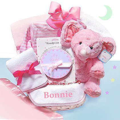 Minky Dots Pink Personalized Gift Basket, 1 by Cashmere Bunny