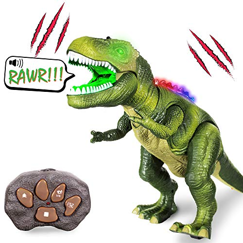 Windy City Novelties Led Light-Up Walking & Roaring T-Rex Dinosaur Toys for Boys & Girls (T-Rex with Remote) -