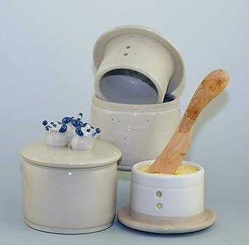 Mantequera de cerámica original francesa refrigerado por agua, forma cilíndrica para 250 G de mantequilla, tres ratones en la cubierta, tres ratones ...