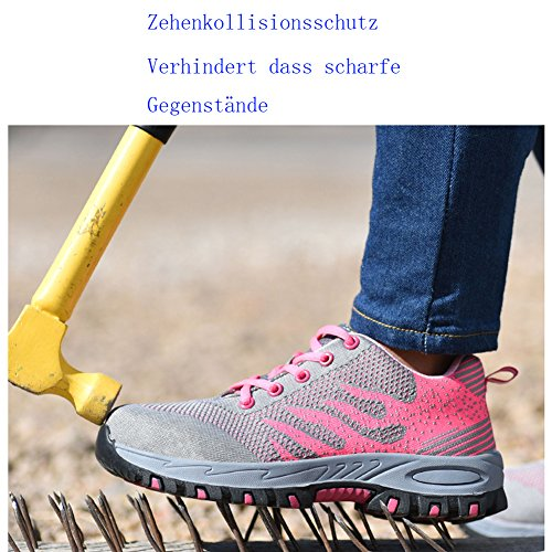 Lavoro Antinfortunistica Sicurezza Rosa Uomo Punta Unisex Scarpe Scarpe Donna 3 happygo da in di con Scarpe Antinfortunistica Sportive ZxCacqw
